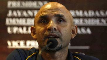 Sri Lanka head coach Marvan Atapattu speaks at a press conference