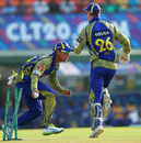 Justin Ontong runs out Raymon Reifer, Barbados Tridents v Cape Cobras, Champions League T20, Group B, Mohali, September 26, 2014