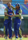 Charl Langeveldt gets a pat after dismissing Shane Dowrich, Barbados Tridents v Cape Cobras, Champions League T20, Group B, Mohali, September 26, 2014