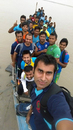 Mosharraf Hossain takes a selfie on a boat on the Padma River in Rajshahi, with players of Gazi Tank and Kalabagan Cricket Academy, September 26, 2014