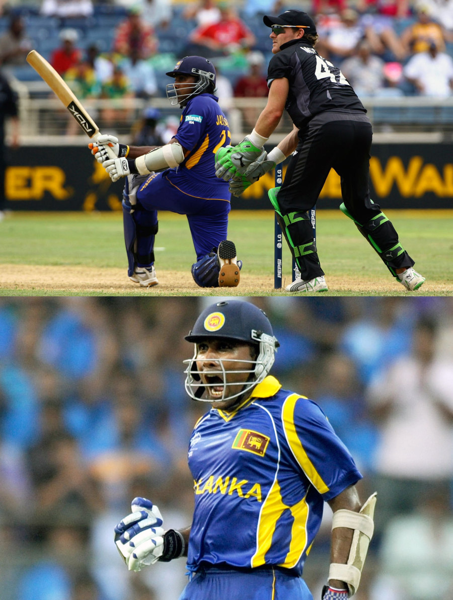 Big-match mojo: Jayawardene turned in classic hundreds in the World Cup semi-final in 2007 (above) and the 2011 final
