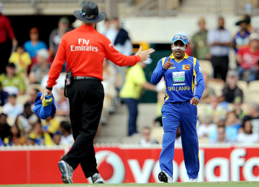 Who's easygoing now? Jayawardene gets into a finger-wagging argument with umpire Bruce Oxenford in Adelaide in 2012