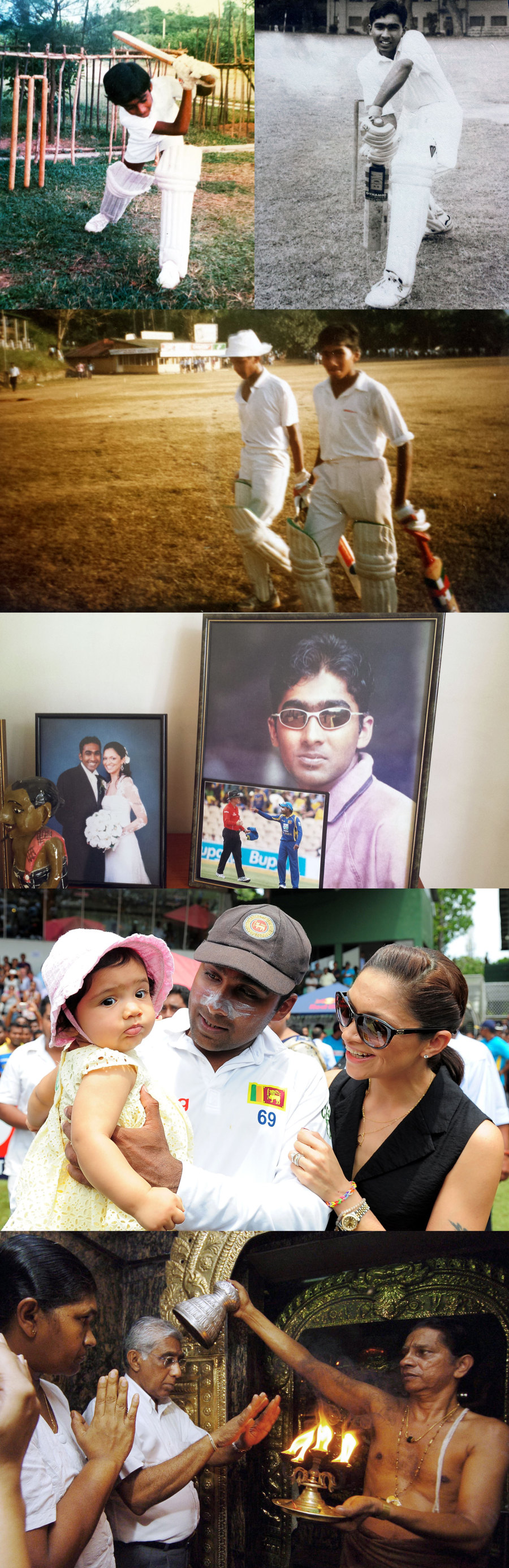 Family album: young Mahela at play; with wife Christina and baby daughter; his parents at a temple