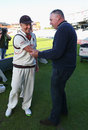 Angus Fraser shakes hands with Glen Chapple, Lancashire v Middlesex, County Championship, Division One, Old Trafford, September 26, 2014