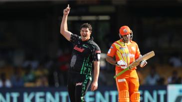 Robbie Frylinck celebrates dismissing Nasir Jamshed