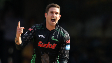 Cameron Delport is pumped up after bowling Mohammad Hafeez