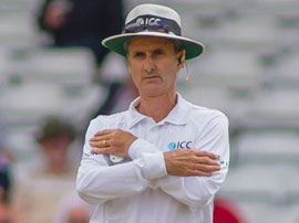 Umpire Billy Bowden signals a decision reversed, England v Sri Lanka, 2nd Investec Test, Headingley, 2nd day, June 21, 2014