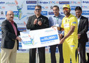 Zohaib Khan receives the Man-of-the-Match award, Sialkot Stallions v Peshawar Panthers, semi-final, Haier Cup National Twenty20 2014, Karachi, September 27, 2014