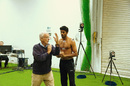 Biomechanist Daryl Foster works with Sri Lanka offspinner Sachithra Senanayake during a remediation session at the University of Western Australia, 2014