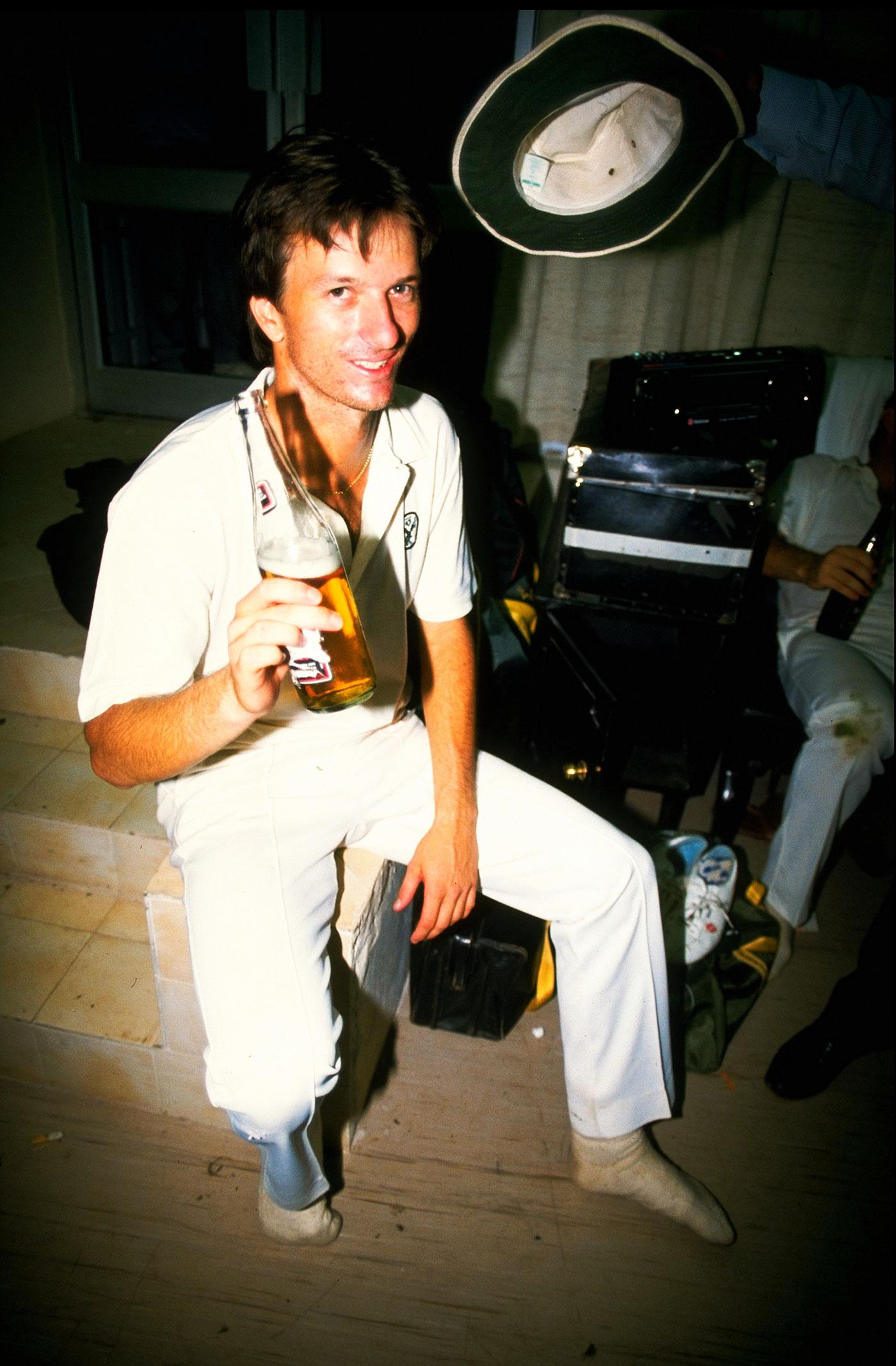 Steve Waugh enjoys a beer after the World Cup final, Australia v England, World Cup, final, Kolkata, November 8, 1987