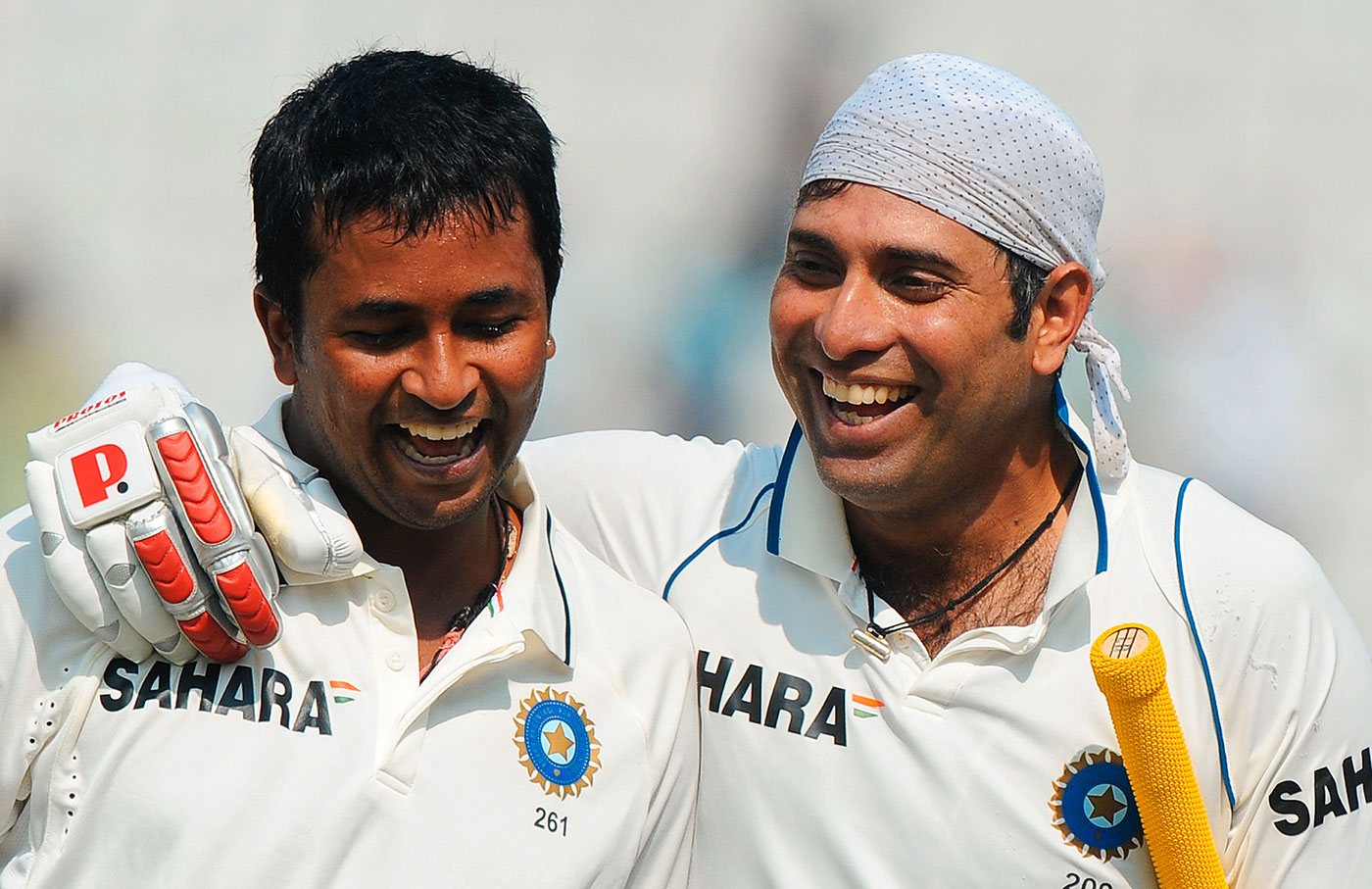 VVS Laxman and Pragyan Ojha celebrate the closest of victories, 1st Test, Mohali, India v Australia, 5th day, October 5, 2010