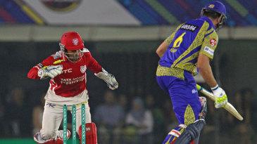 Wriddhiman Saha stumped Justin Kemp for 2
