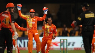 Mohammad Hafeez is in disbelief as umpire Rod Tucker turns him down