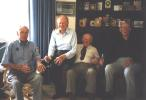 Former New Zealand Test cricketers and team-mates, from left, Bert Sutcliffe, Geoff Rabone and Lindsay Weir celebrate Jack Kerr's (right) 90th birthday in Auckland, 28 December 2000.