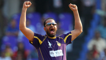 Yusuf Pathan exults after trapping Aiden Blizzard lbw