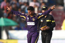 Kuldeep Yadav picked up the crucial wicket of Ben Dunk, Kolkata Knight Riders v Hobart Hurricanes, 1st semi-final, CLT20, Hyderabad, October 2, 2014