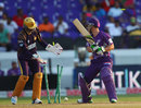 Jonathan Wells is bowled, Kolkata Knight Riders v Hobart Hurricanes, 1st semi-final, CLT20, Hyderabad, October 2, 2014