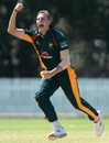 Sam Rainbird celebrates a wicket, Tasmania v Victoria, Matador BBQs Cup, Brisbane, October 8, 2014