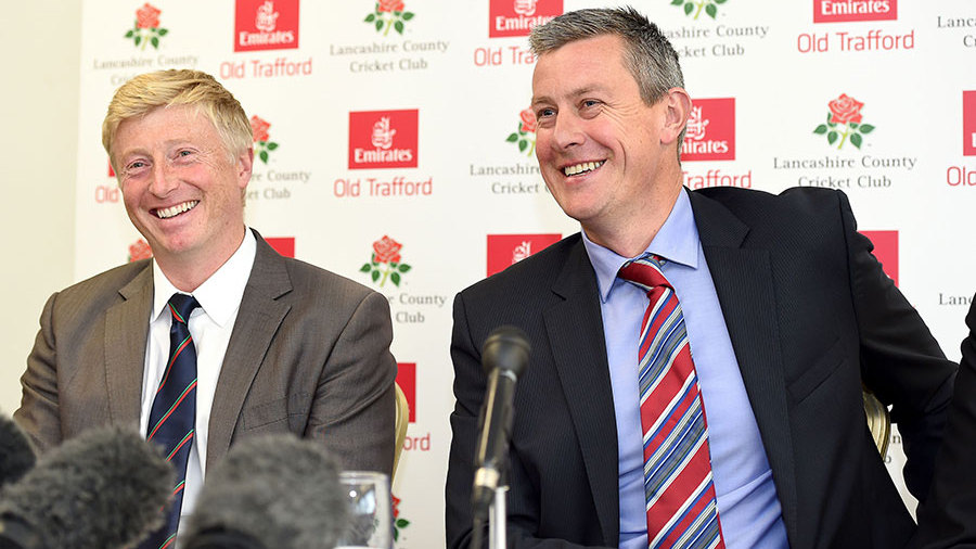 Glen Chapple with Ashley Giles as Lancashire's new coach faces the media