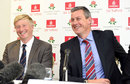 Glen Chapple with Ashley Giles as Lancashire's new coach faces the media, Old Trafford, October 8, 2014