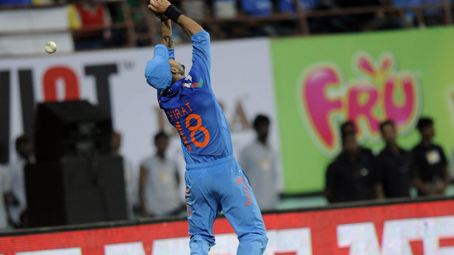 Virat Kohli could not hold on to a chance near the boundary