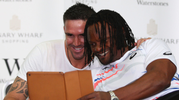 Kevin Pietersen poses for a picture at his book signing