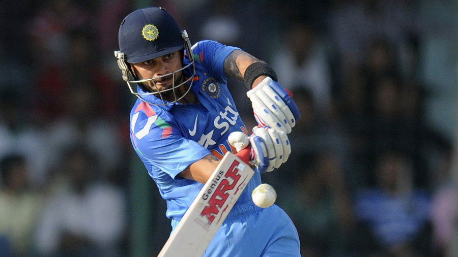 Virat Kohli shapes for a pull