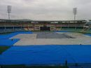 The ground at the ACA-VDCA Stadium is covered in anticipation of a cyclone, Visakhapatnam, October 11, 2014