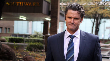 Chris Cairns outside Southwark Crown Court