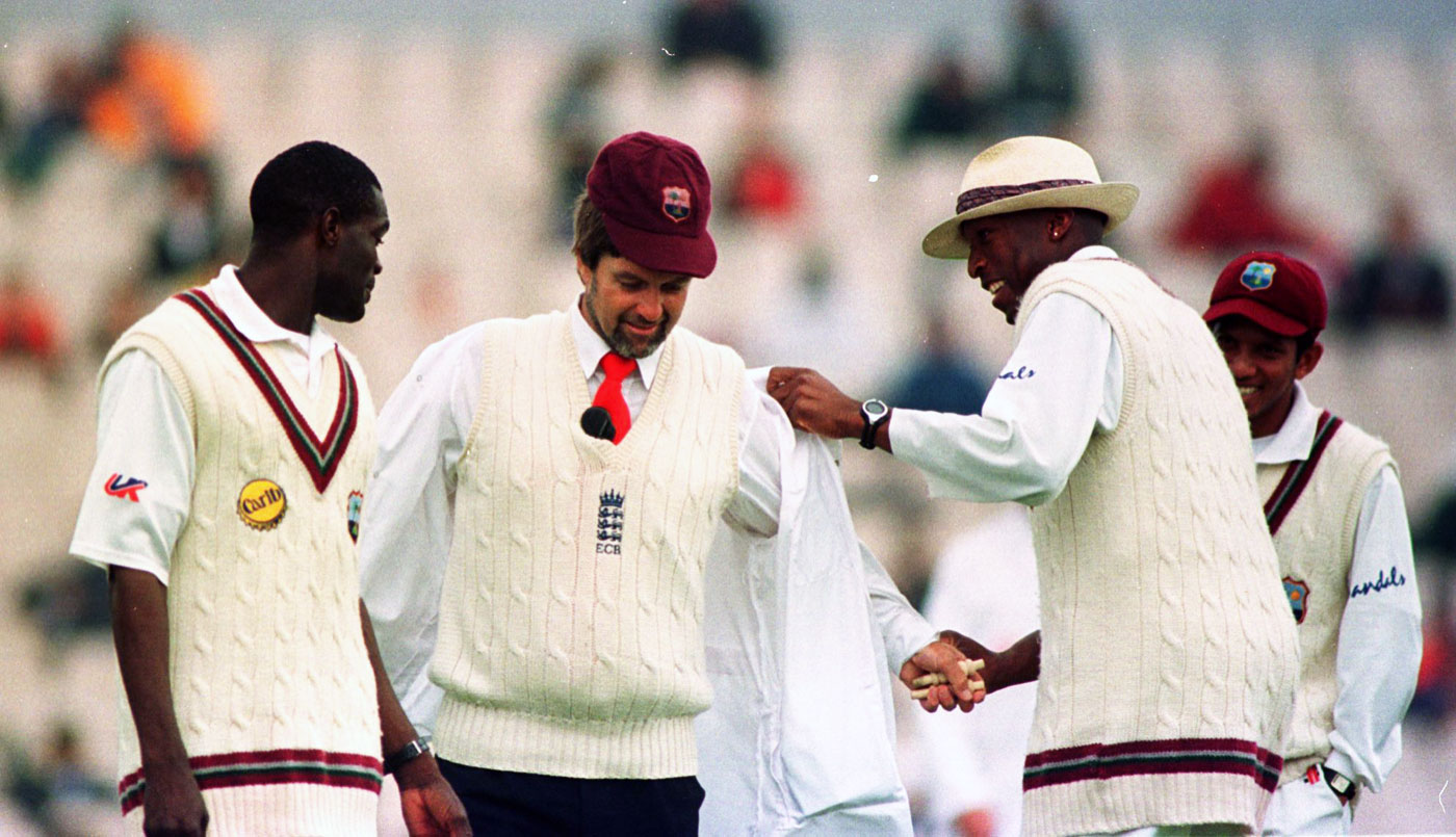 West Indies' Reon King and Franklyn Rose with Willey at Old Trafford in 2000