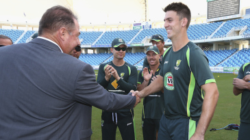 Mitchell Marsh got his baggy green cap from father Geoff Marsh