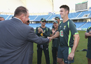 Mitchell Marsh got his baggy green cap from father Geoff Marsh, Pakistan v Australia, 1st Test, Dubai, 1st day, October 22, 2014