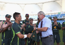 Debutant Steve O'Keefe got his cap from Dean Jones, Pakistan v Australia, 1st Test, Dubai, 1st day, October 22, 2014