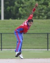 Usman Shuja sends one down to a North East batsman, Central West v North East, USACA T20 National Championship, Lauderhill, August 16, 2014