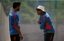Chandika Hathurusingha chats with Marshall Ayub while training, Mirpur, October 23, 2014