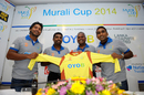 Kumar Sangakkara, Muttiah Muralitharan and Mahela Jayawardene at the launch of the Murali Harmony Cup 2014, October 24, 2014
