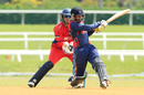 Binod Bhandari targets the leg side during his unbeaten 43, Bermuda v Nepal, ICC WCL Division Three, Kuala Lumpur, October 24, 2014