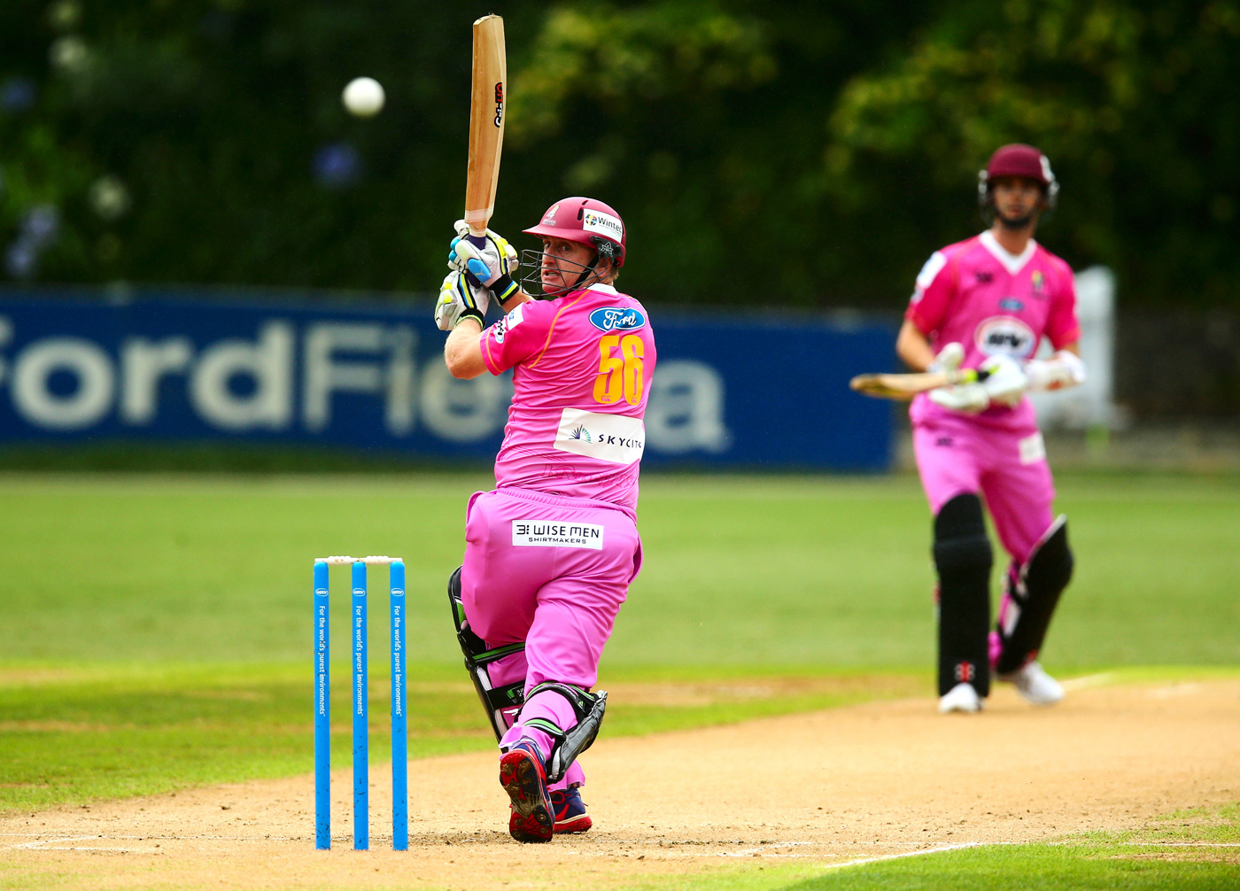 Tickled pink: Scott Styris gets his blush on in a game in Auckland in 2012