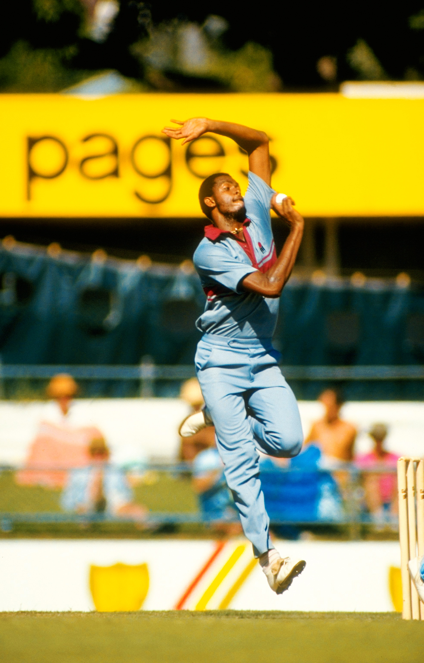 Grey menace: Courtney Walsh in a Benson and Hedges World Series game down under in the late '80s