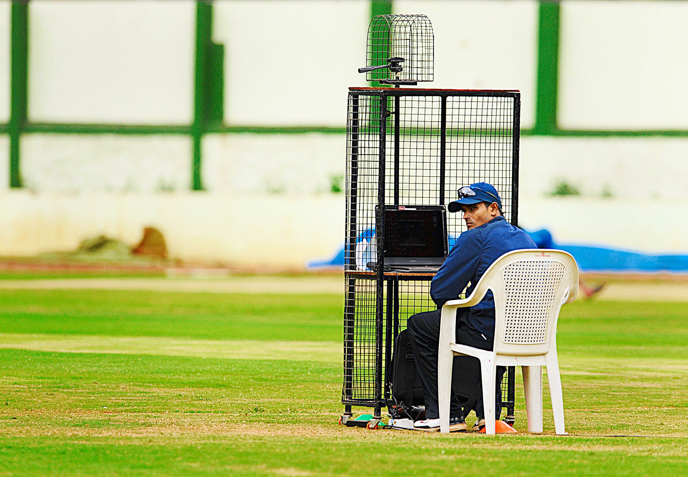 S Badrinath sits by the computer at the NCA