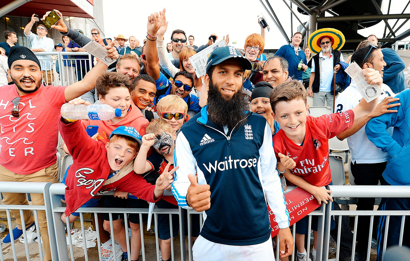Moeen Ali mingles with fans after the Test win