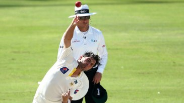 Yasir Shah bowls on the fifth morning