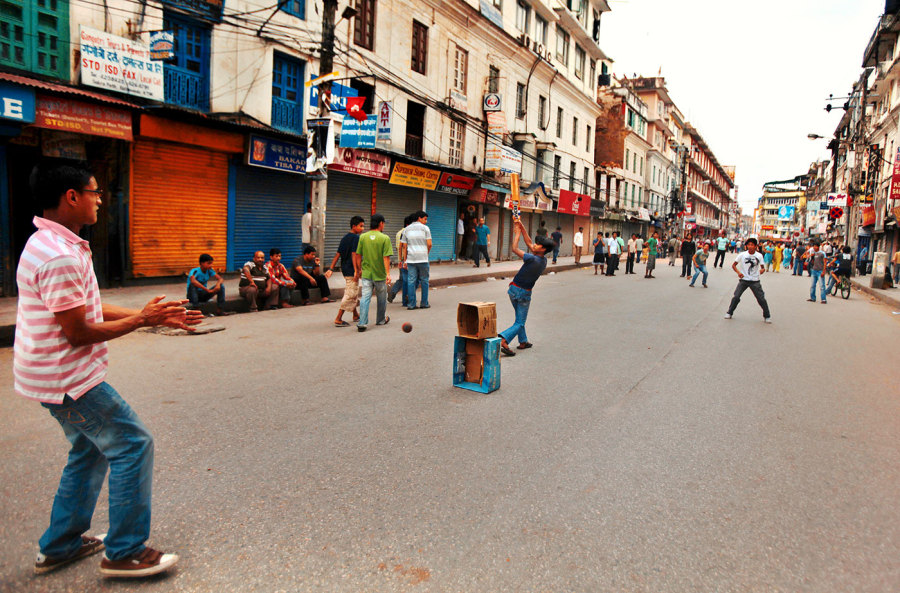 Taking to the streets: cricket has come to be an expression of freedom for Nepal's youth