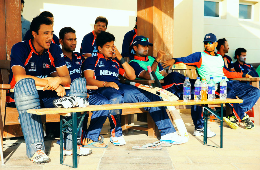 The voice of Nepal cricket: Paras Khadka (far left) has never been shy of speaking up on behalf of the country's players