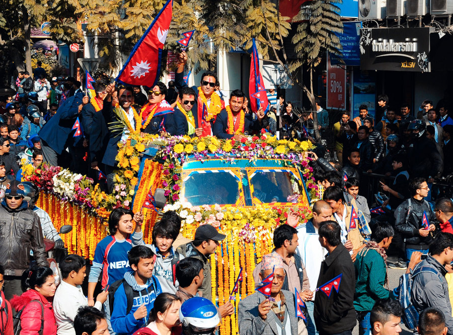 The players get a heroes' welcome in Kathmandu after qualifying for the 2014 World T20