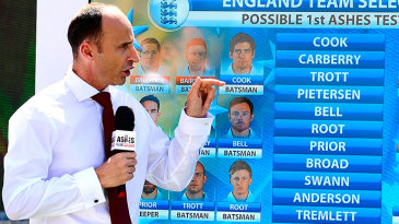 Michael Atherton, Nasser Hussain and Ian Ward at a Sky Sports analysis show