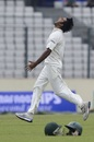 Shahadat Hossain roars after bowling Hamilton Masakadza, Bangladesh v Zimbabwe, 1st Test, Mirpur, 2nd day, October 26, 2014