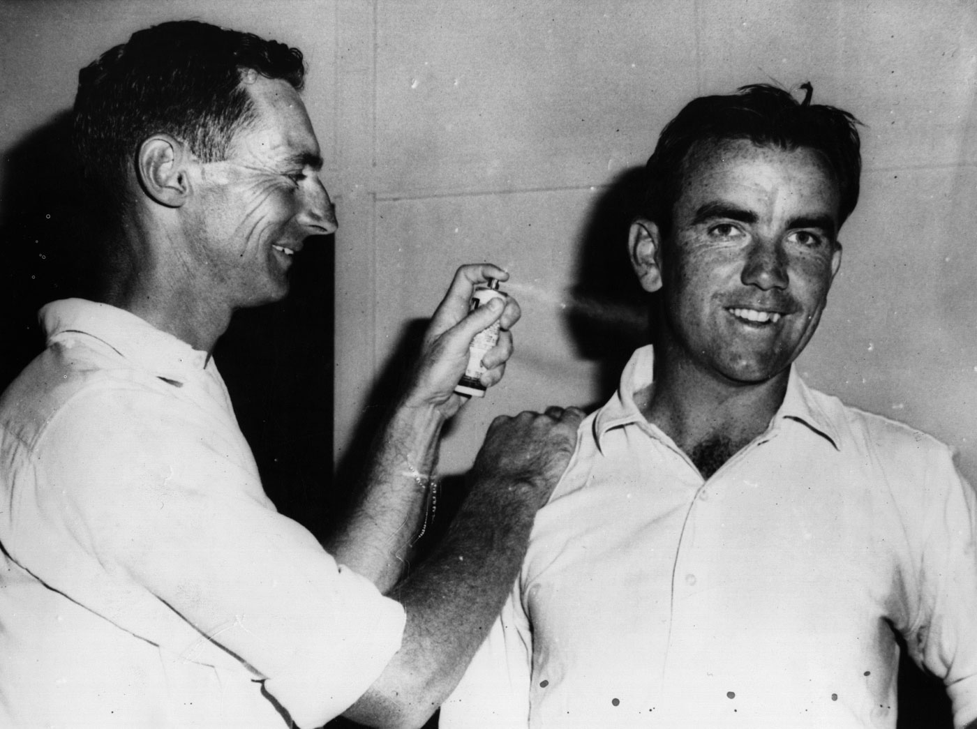 Brian Booth (left) got his first gig as Test captain in Allan's debut match, after the latter had given Bob Simpson (right) an injury during a Shield match