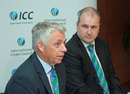 ICC chief executive David Richardson and general manager, cricket, Geoff Allardice at a press conference, Dubai, October 27, 2014
