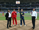 Adam Gilchrist and Anil Kumble at the toss with Ravi Shastri and Srinivas Venkataraghavan, Deccan Chargers v Royal Challengers Bangalore, IPL, Mumbai, April 24, 2010